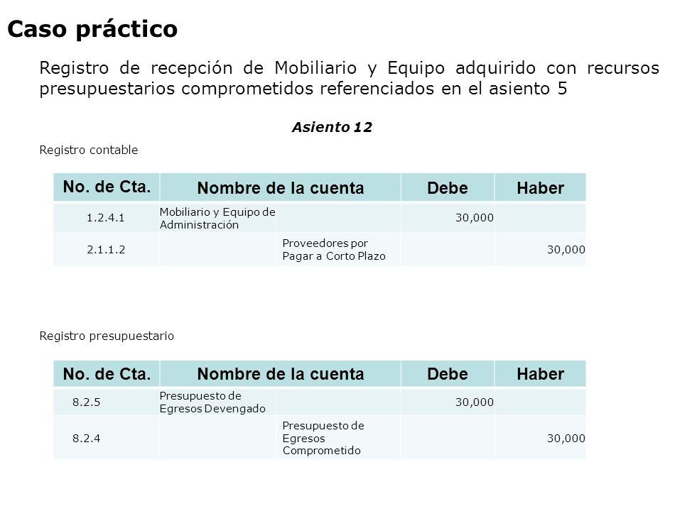 Caso práctico Registro de recepción de Mobiliario y Equipo adquirido con recursos presupuestarios comprometidos referenciados en el asiento 5.