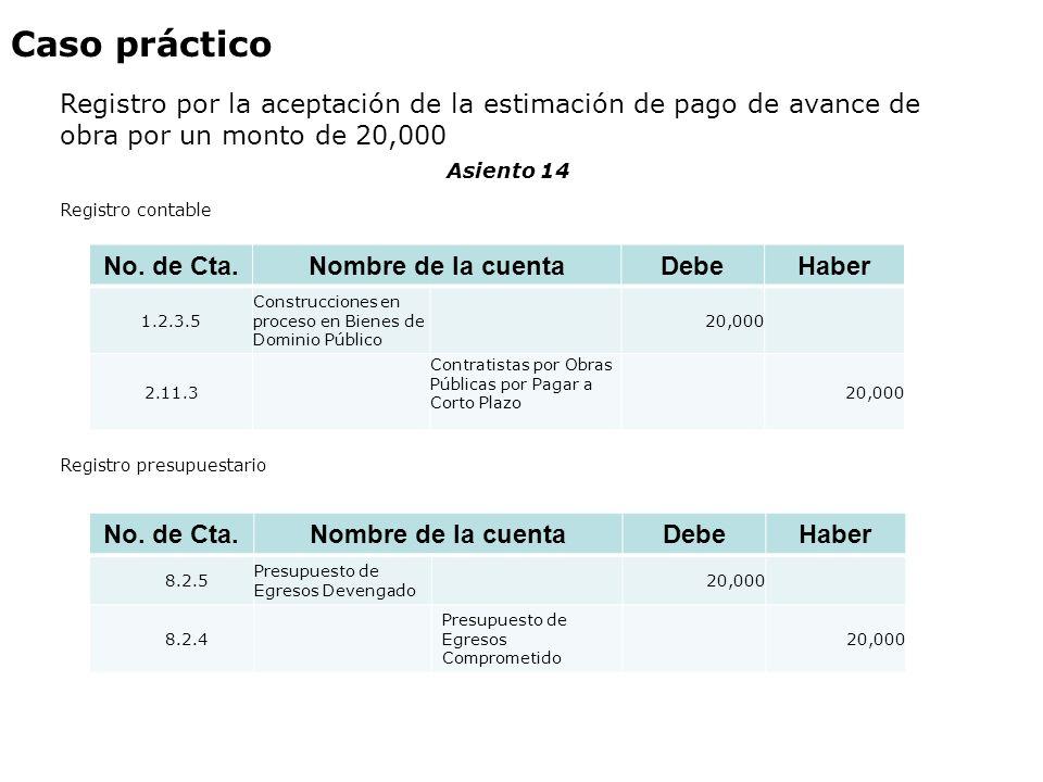 Caso práctico Registro por la aceptación de la estimación de pago de avance de obra por un monto de 20,000.