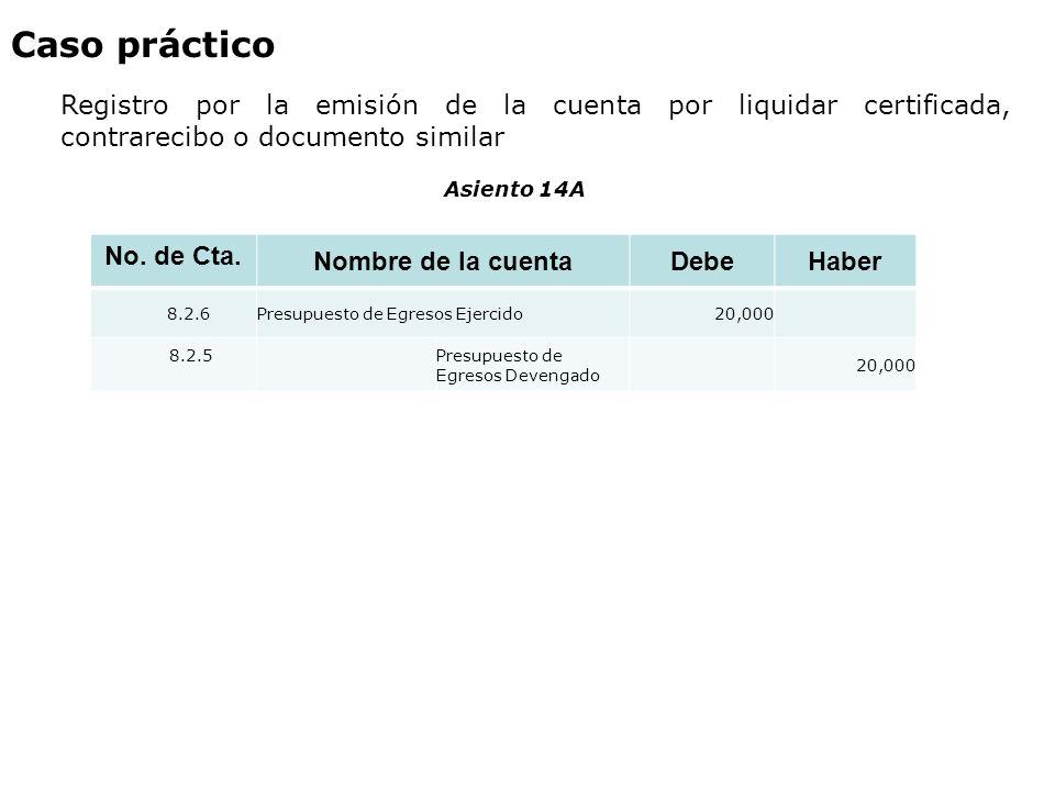 Caso práctico Registro por la emisión de la cuenta por liquidar certificada, contrarecibo o documento similar.