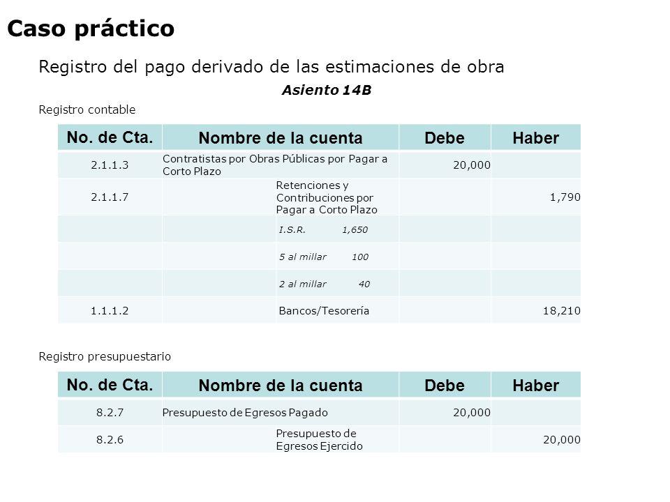 Caso práctico Registro del pago derivado de las estimaciones de obra