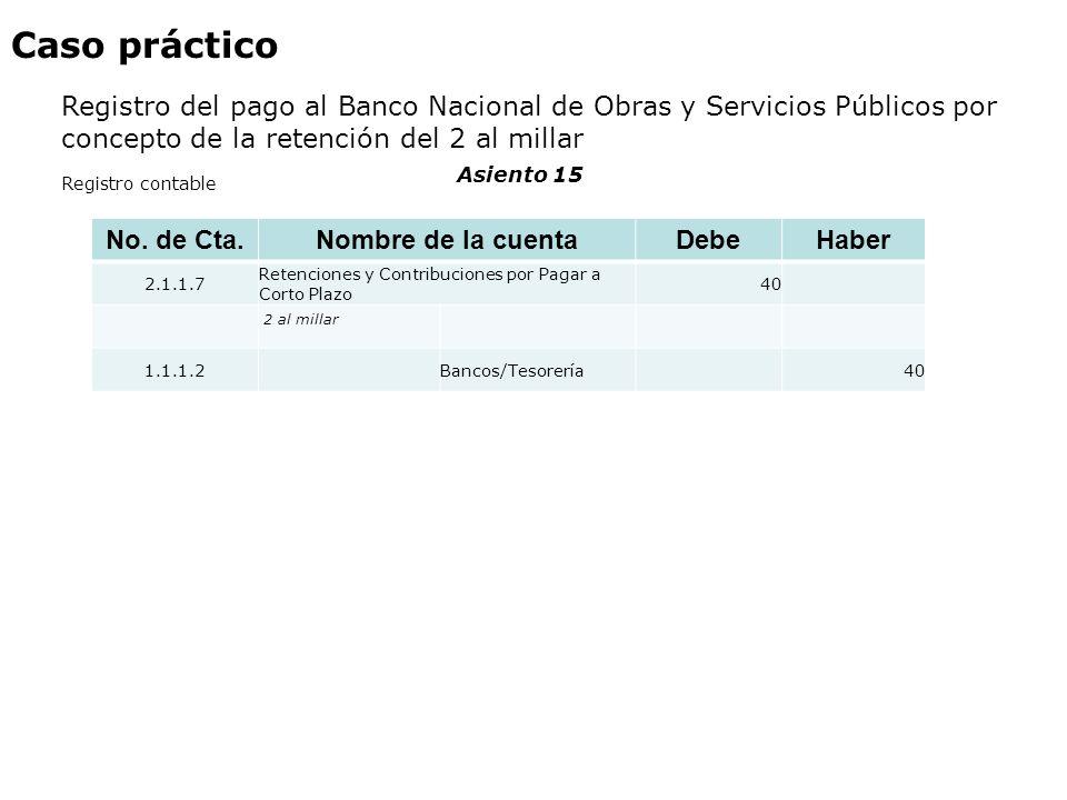 Caso práctico Registro del pago al Banco Nacional de Obras y Servicios Públicos por concepto de la retención del 2 al millar.