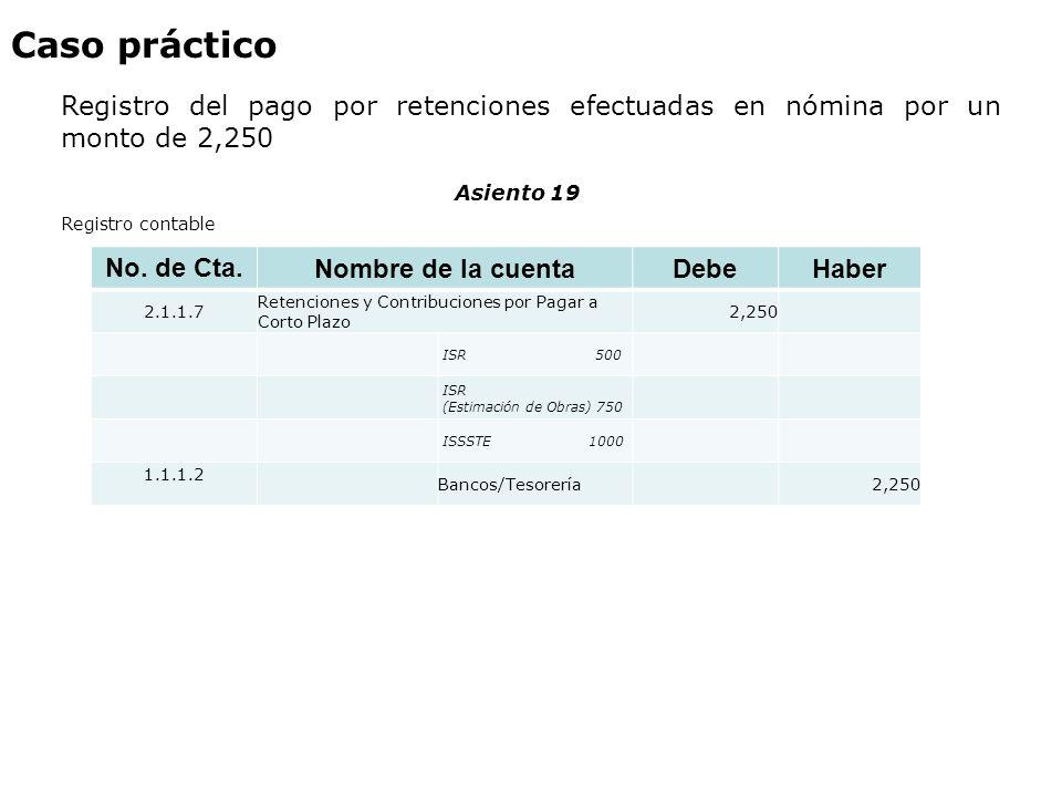 Caso práctico Registro del pago por retenciones efectuadas en nómina por un monto de 2,250. Asiento 19.