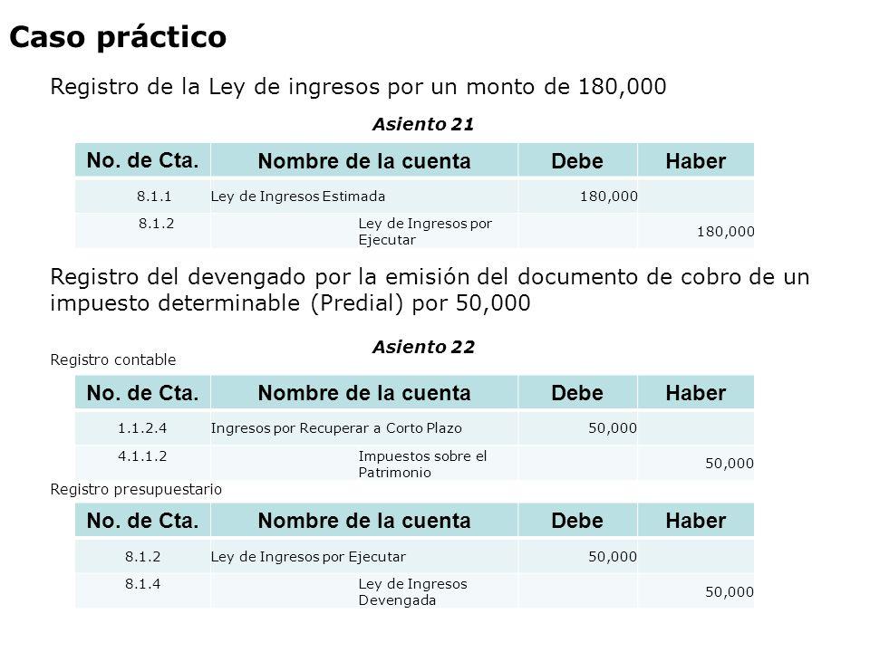 Caso práctico Registro de la Ley de ingresos por un monto de 180,000