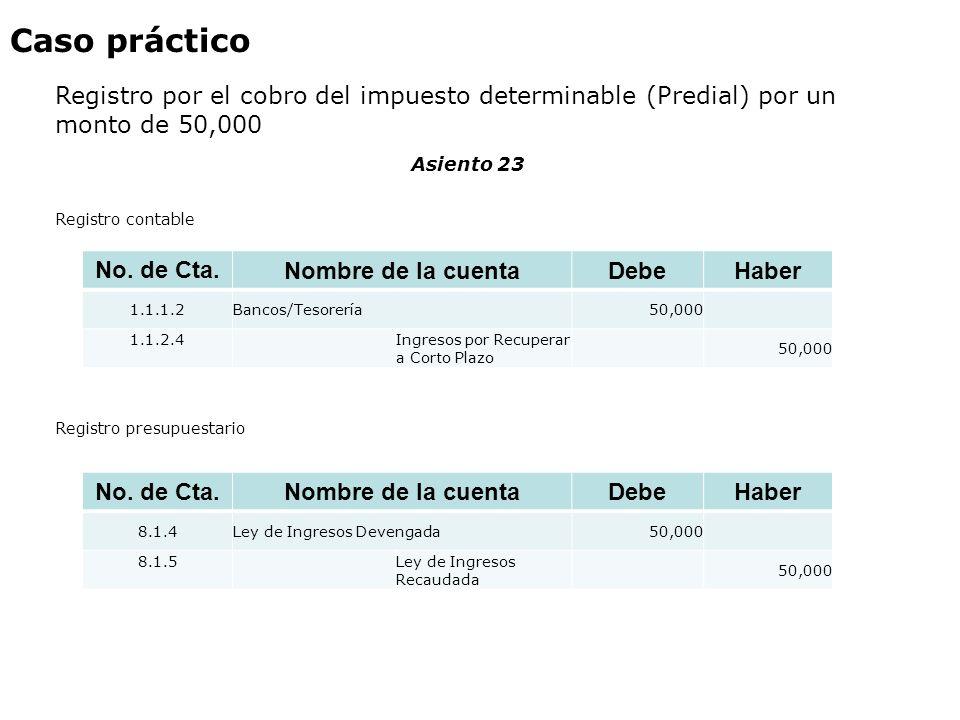 Caso práctico Registro por el cobro del impuesto determinable (Predial) por un monto de 50,000. Asiento 23.