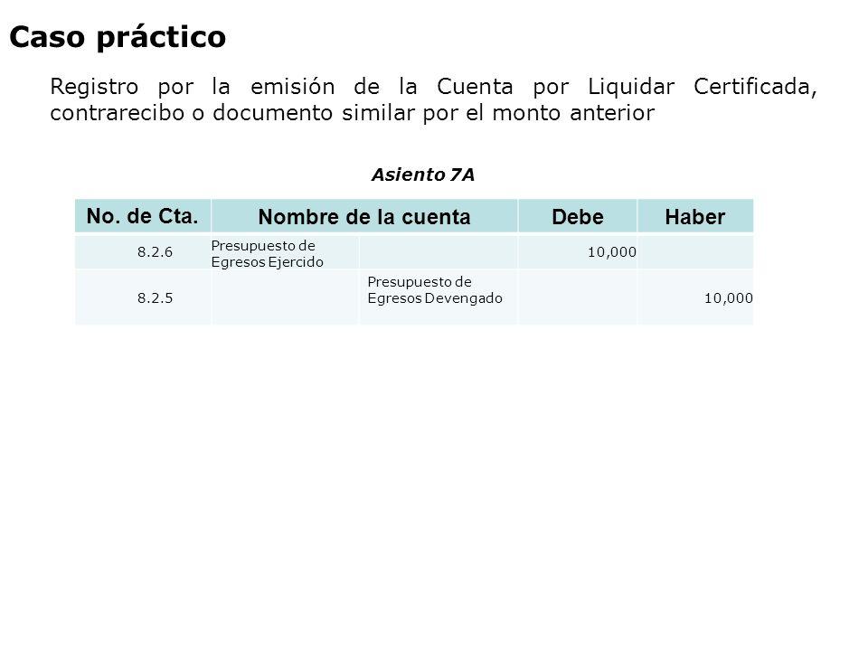 Caso práctico Registro por la emisión de la Cuenta por Liquidar Certificada, contrarecibo o documento similar por el monto anterior.