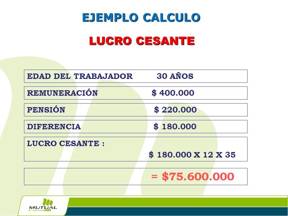 EJEMPLO CALCULO LUCRO CESANTE EDAD DEL TRABAJADOR 30 AÑOS
