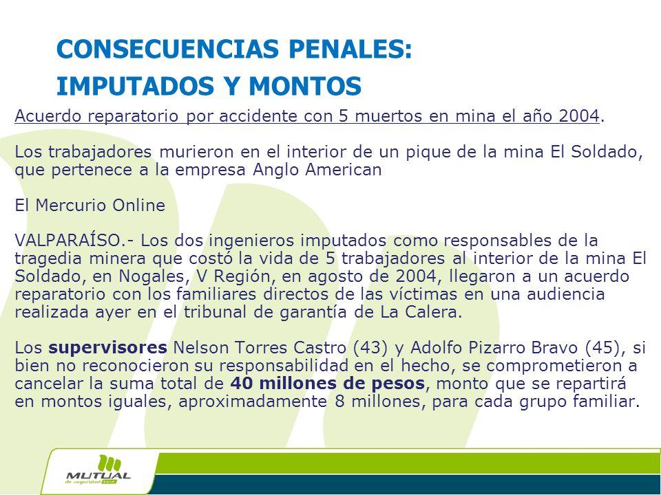 CONSECUENCIAS PENALES: IMPUTADOS Y MONTOS