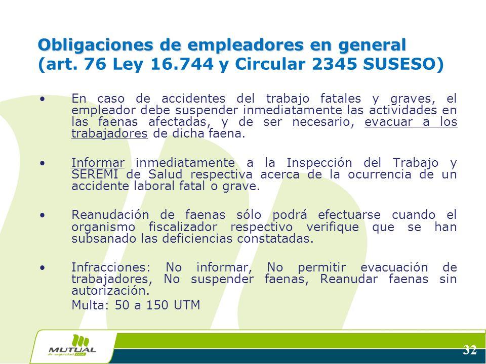 Obligaciones de empleadores en general (art. 76 Ley 16