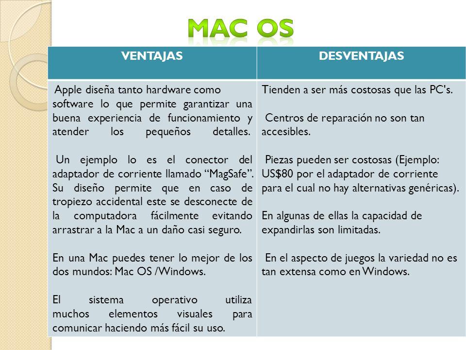 MAC OS VENTAJAS DESVENTAJAS Apple diseña tanto hardware como