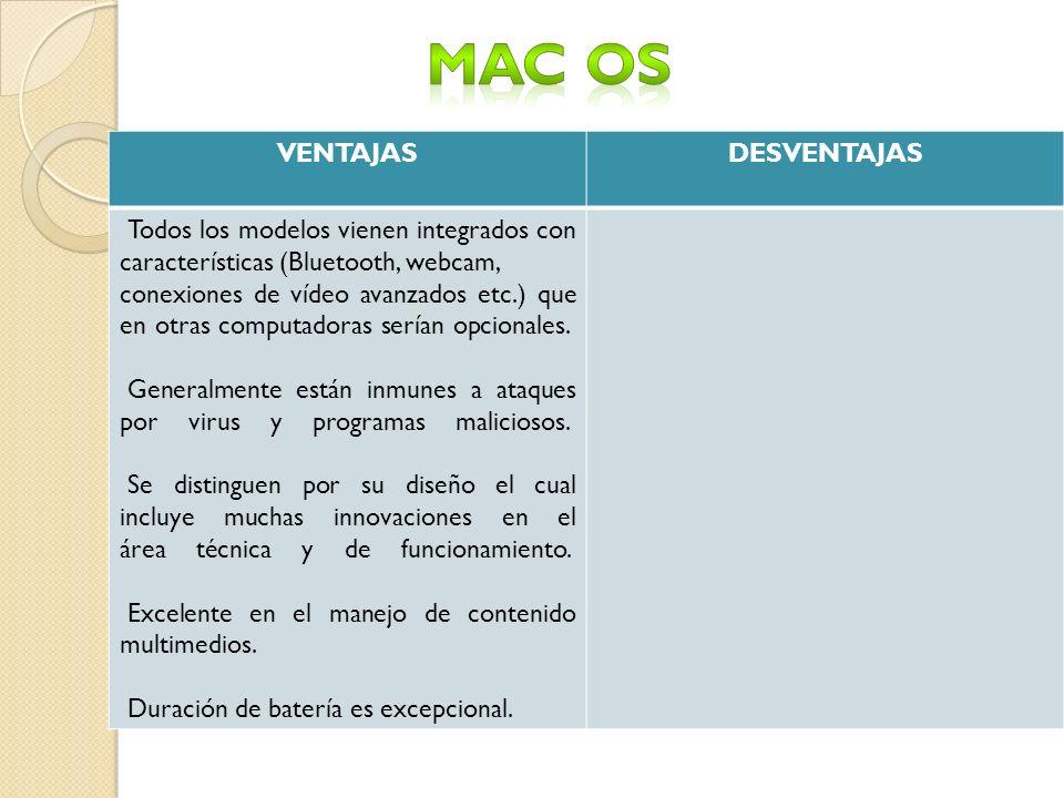 MAC OS VENTAJAS DESVENTAJAS