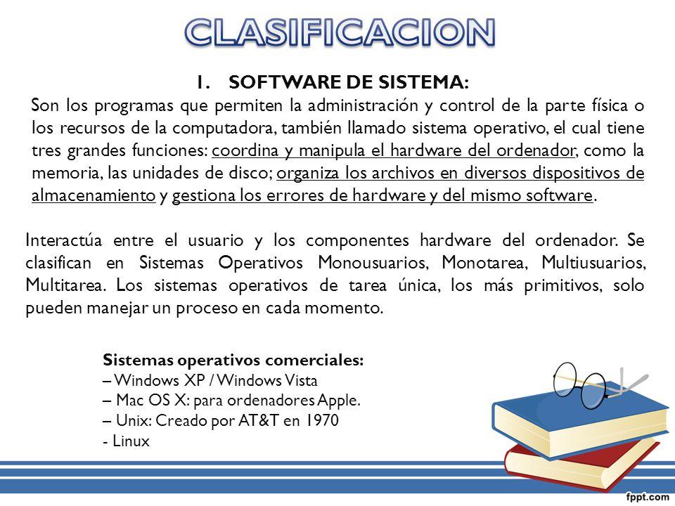CLASIFICACION SOFTWARE DE SISTEMA: