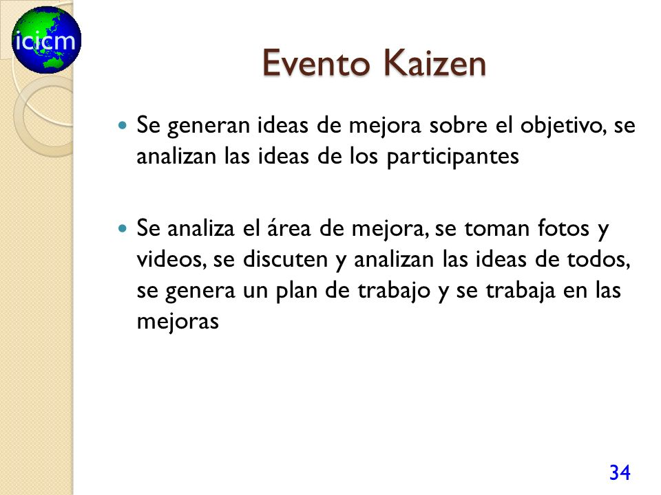 Evento Kaizen Se generan ideas de mejora sobre el objetivo, se analizan las ideas de los participantes.