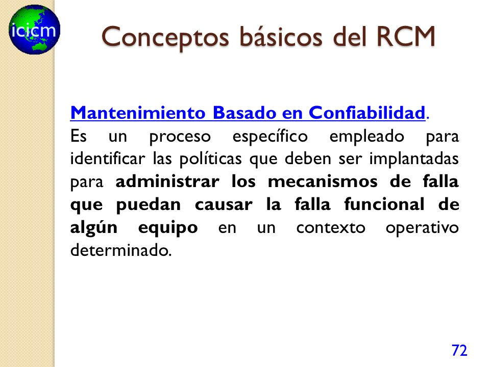 Conceptos básicos del RCM
