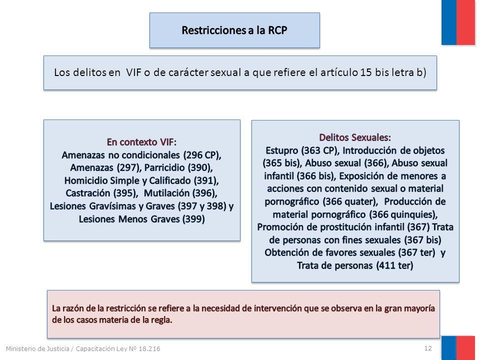Restricciones a la RCP Los delitos en VIF o de carácter sexual a que refiere el artículo 15 bis letra b)