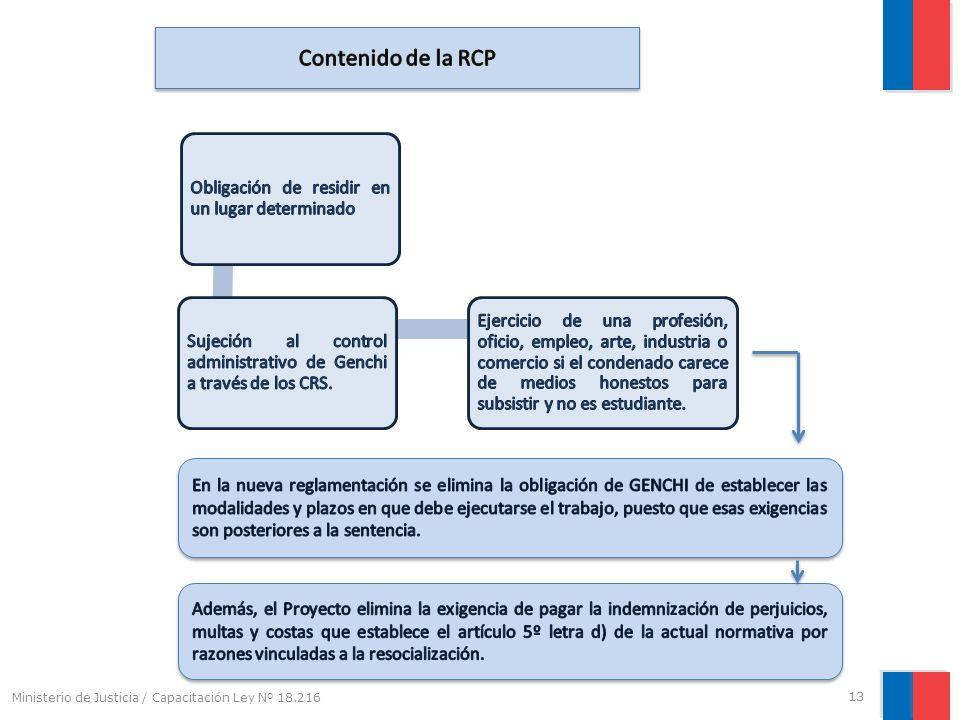 Contenido de la RCP Obligación de residir en un lugar determinado