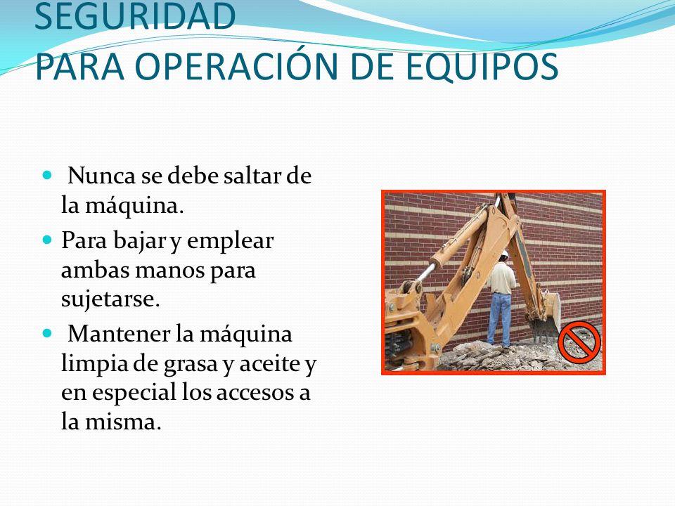 NORMAS GENERALES DE SEGURIDAD PARA OPERACIÓN DE EQUIPOS