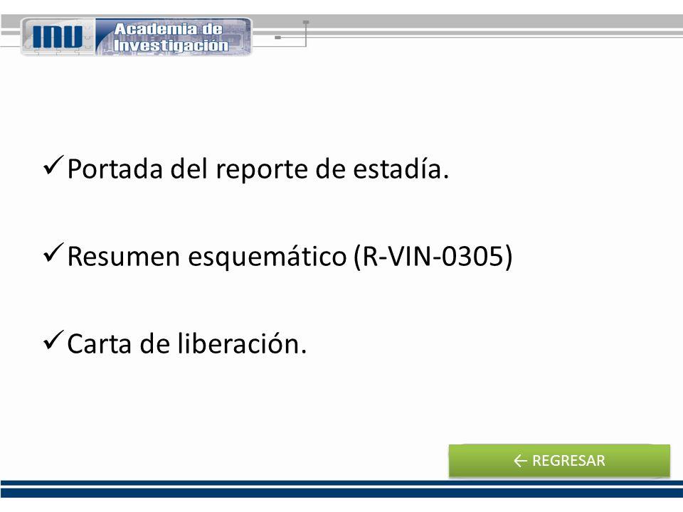 Portada del reporte de estadía. Resumen esquemático (R-VIN-0305)
