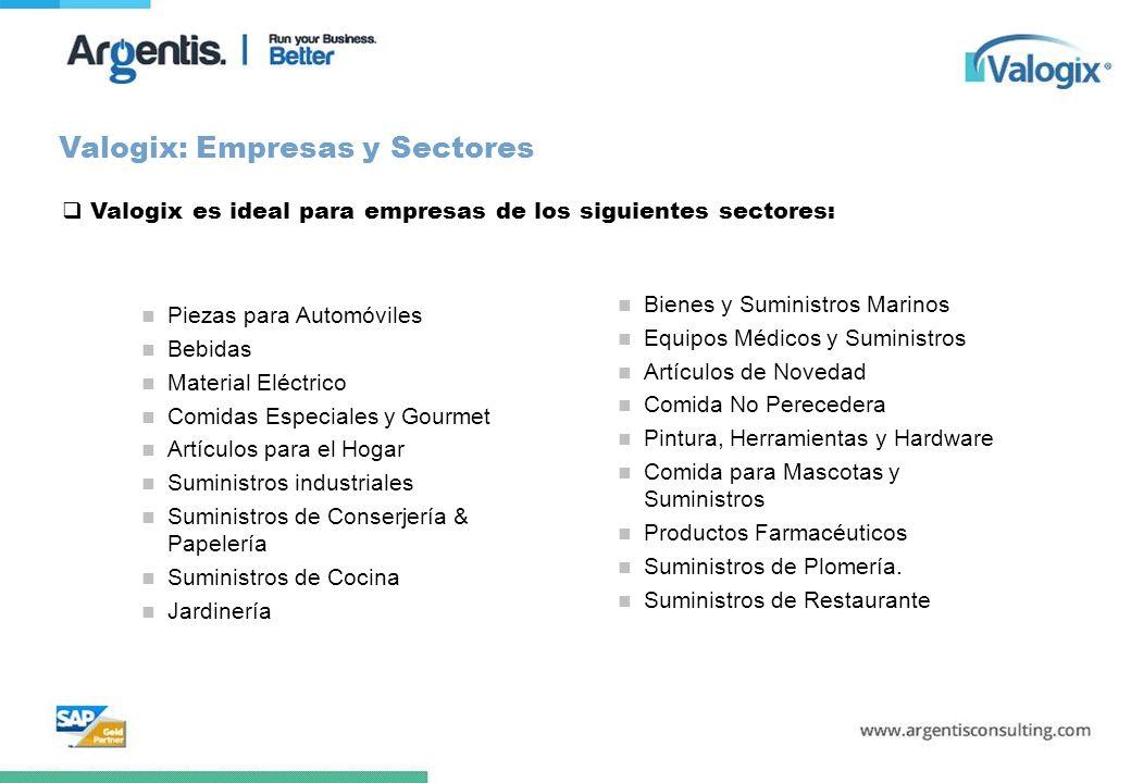 Valogix: Empresas y Sectores