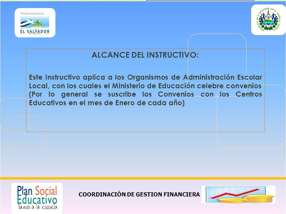 ALCANCE DEL INSTRUCTIVO: COORDINACIÒN DE GESTION FINANCIERA