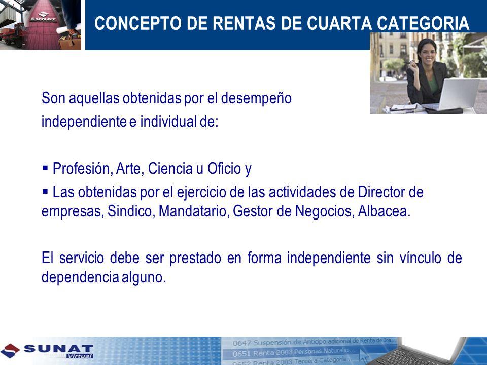 CONCEPTO DE RENTAS DE CUARTA CATEGORIA