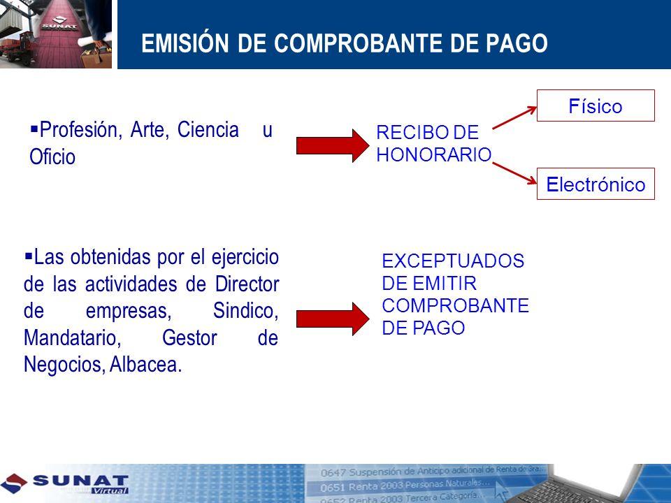 EMISIÓN DE COMPROBANTE DE PAGO