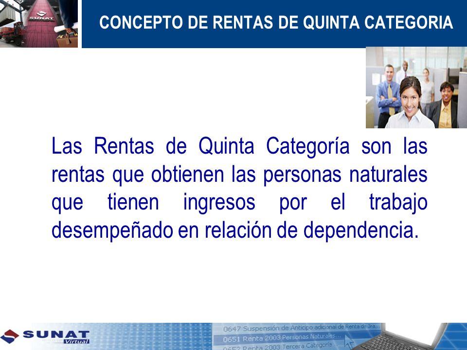 CONCEPTO DE RENTAS DE QUINTA CATEGORIA