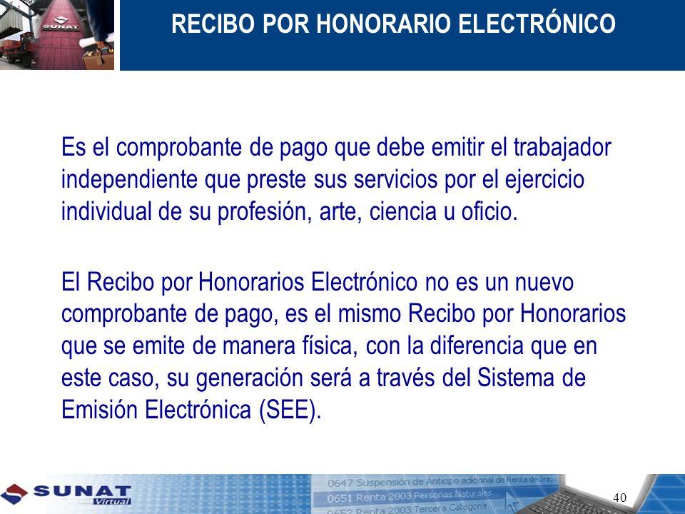 RECIBO POR HONORARIO ELECTRÓNICO