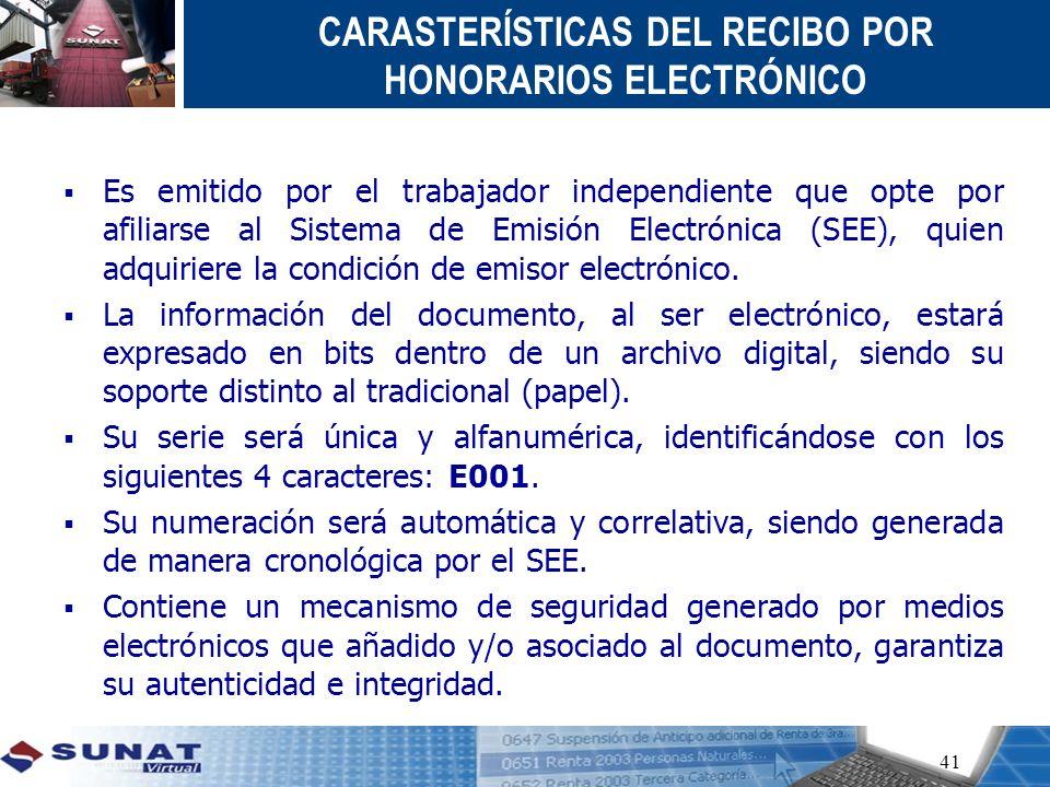 CARASTERÍSTICAS DEL RECIBO POR HONORARIOS ELECTRÓNICO