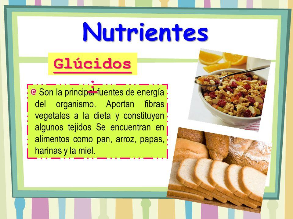 Nutrientes Glúcidos: