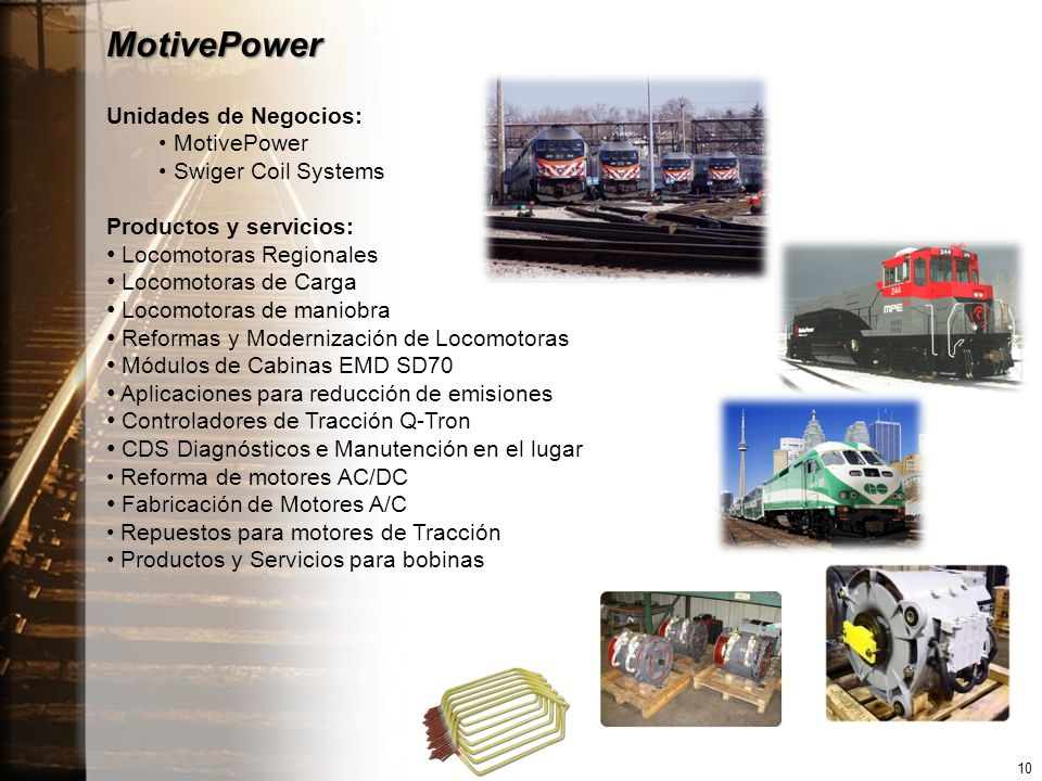 MotivePower Unidades de Negocios: MotivePower Swiger Coil Systems