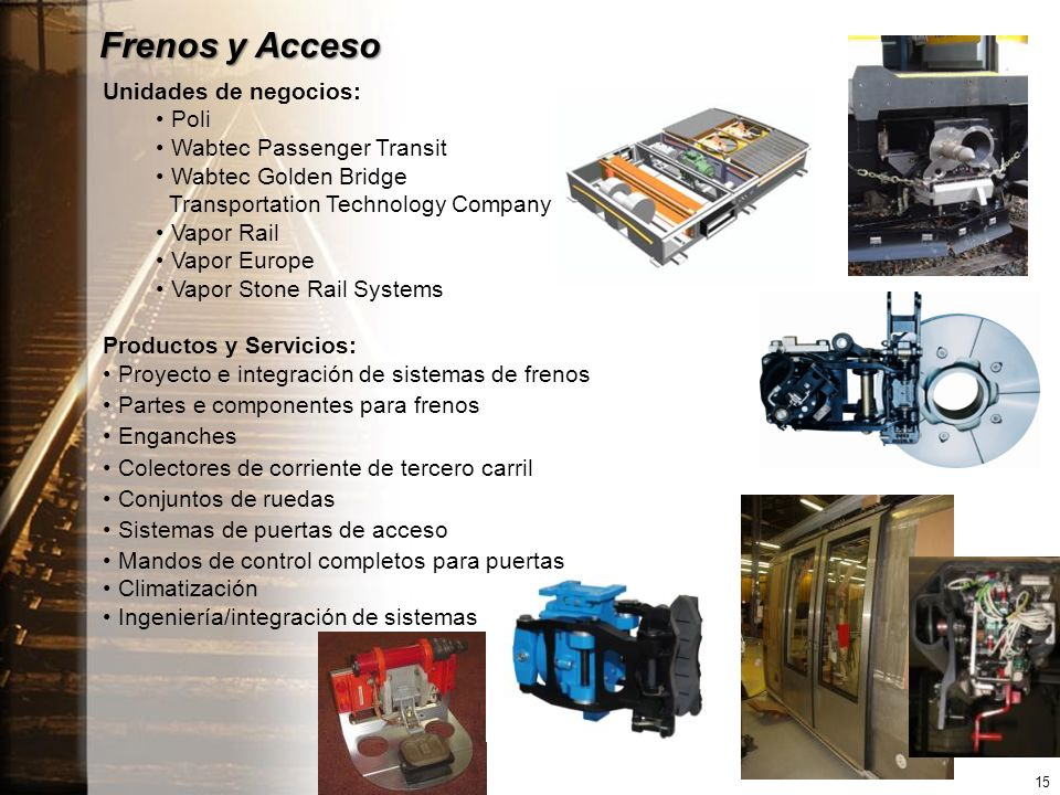 Frenos y Acceso Unidades de negocios: Poli Wabtec Passenger Transit