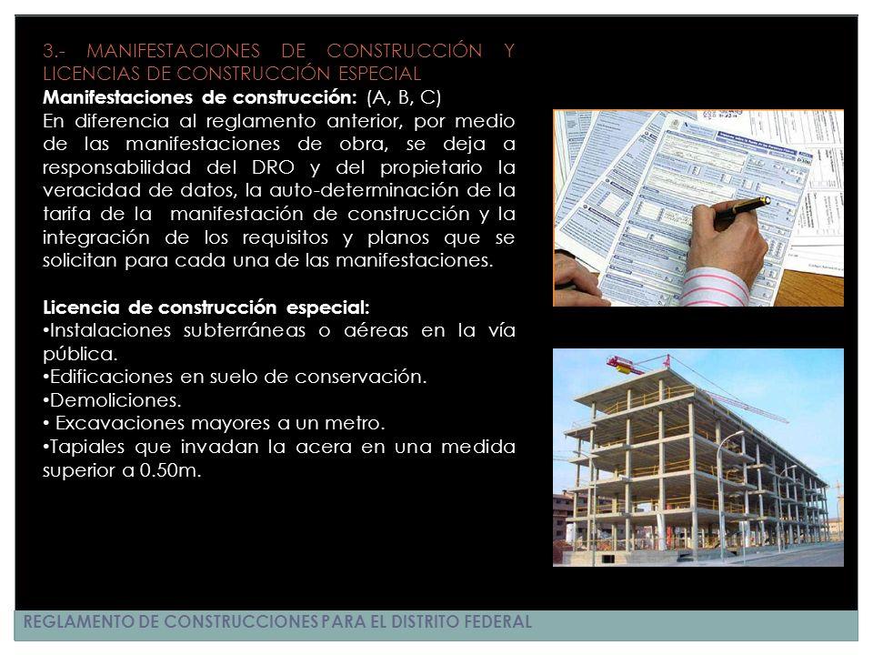 Manifestaciones de construcción: (A, B, C)
