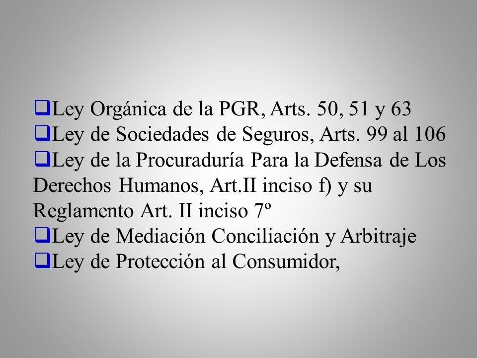 Ley Orgánica de la PGR, Arts. 50, 51 y 63