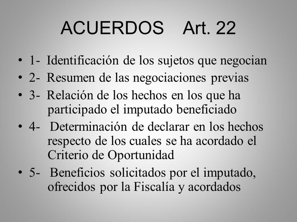 ACUERDOS Art. 22 1- Identificación de los sujetos que negocian