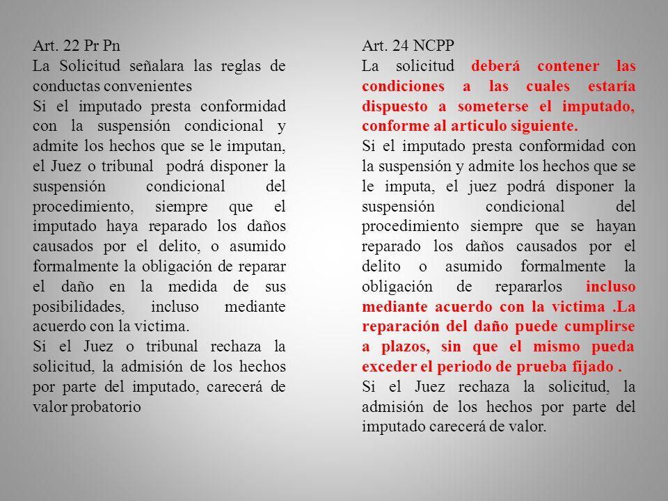 Art. 22 Pr Pn La Solicitud señalara las reglas de conductas convenientes.