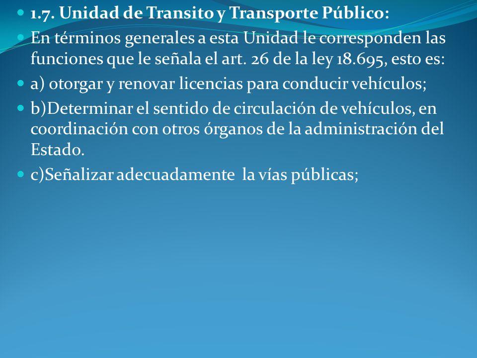 1.7. Unidad de Transito y Transporte Público: