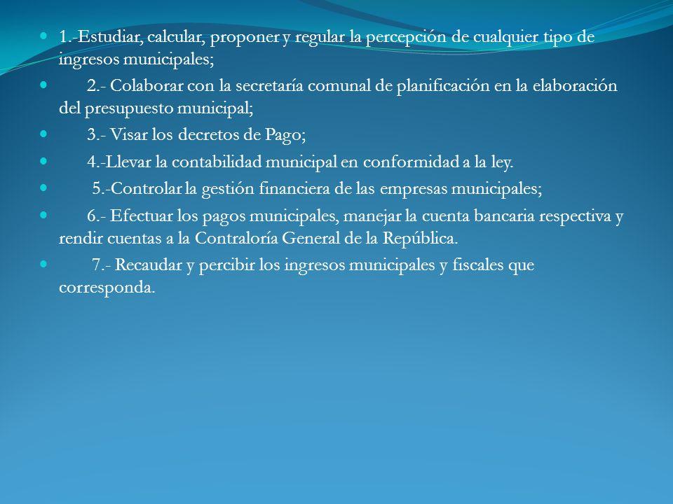 1.-Estudiar, calcular, proponer y regular la percepción de cualquier tipo de ingresos municipales;