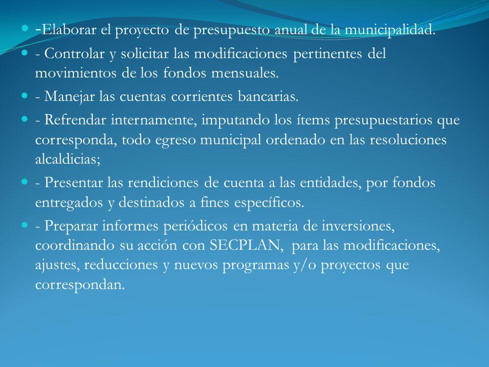 -Elaborar el proyecto de presupuesto anual de la municipalidad.