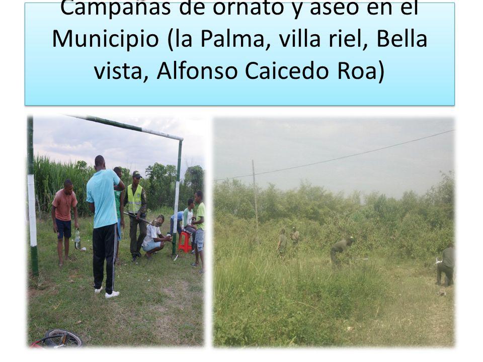 Campañas de ornato y aseo en el Municipio (la Palma, villa riel, Bella vista, Alfonso Caicedo Roa)
