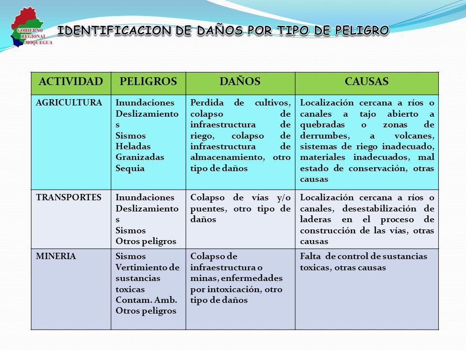 IDENTIFICACION DE DAÑOS POR TIPO DE PELIGRO
