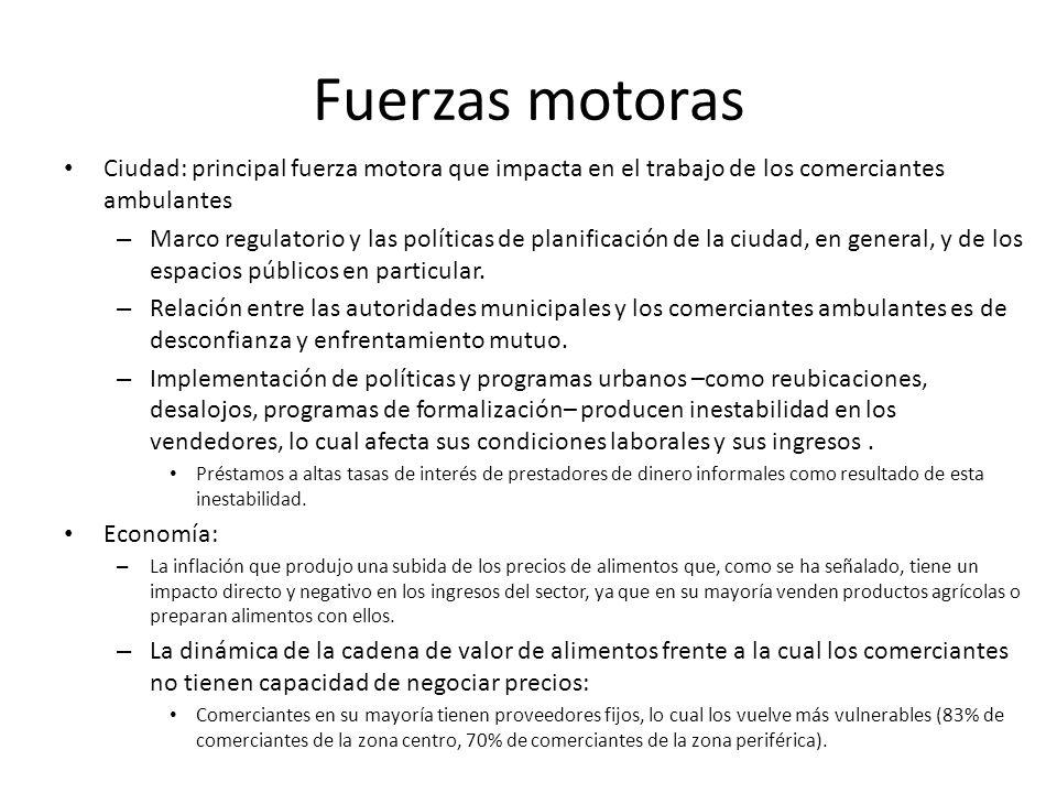Fuerzas motoras Ciudad: principal fuerza motora que impacta en el trabajo de los comerciantes ambulantes.