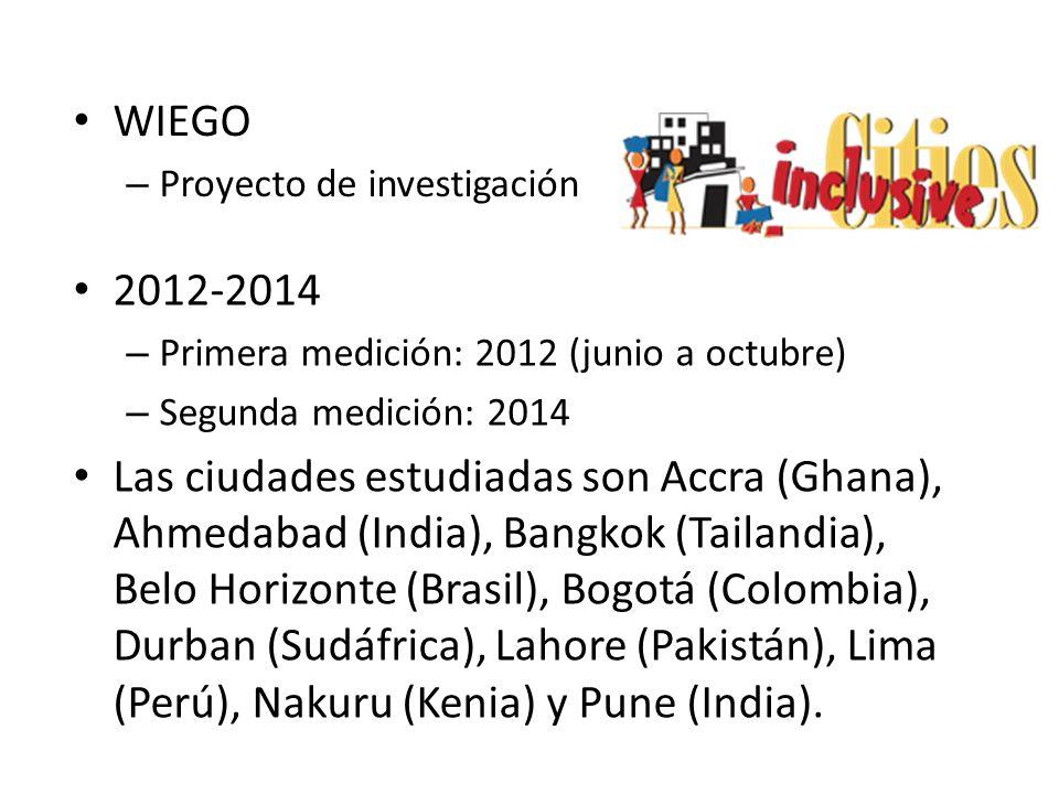 WIEGO Proyecto de investigación. 2012-2014. Primera medición: 2012 (junio a octubre) Segunda medición: 2014.