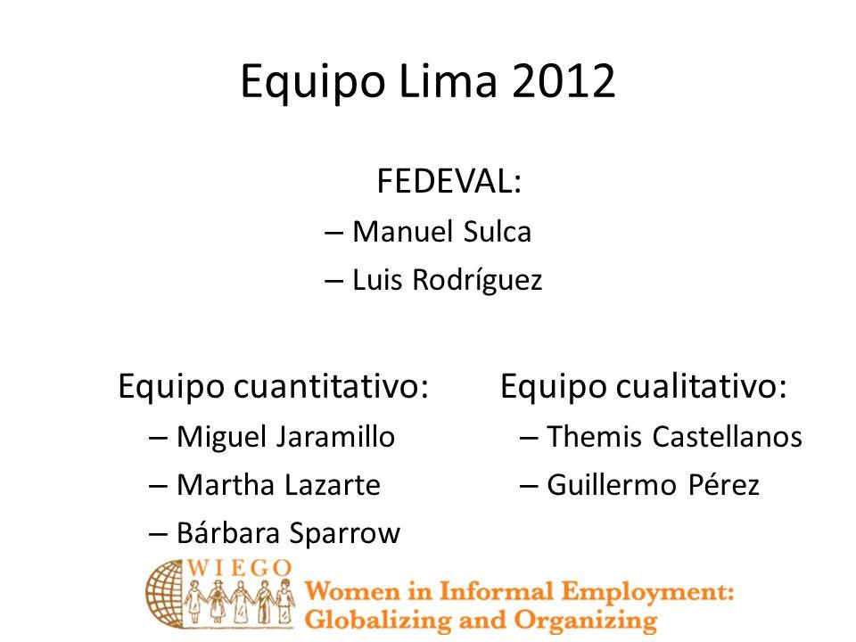 Equipo Lima 2012 FEDEVAL: Equipo cuantitativo: Equipo cualitativo: