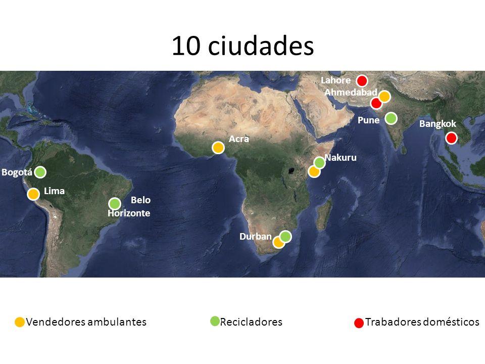 10 ciudades Vendedores ambulantes Recicladores Trabadores domésticos