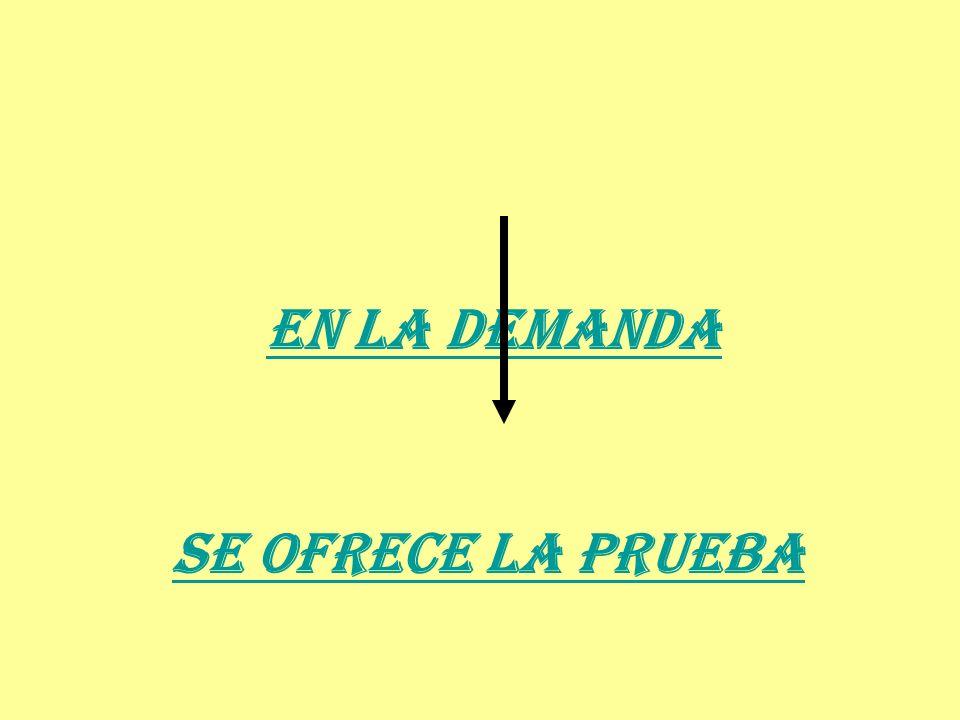 EN LA DEMANDA SE OFRECE LA PRUEBA
