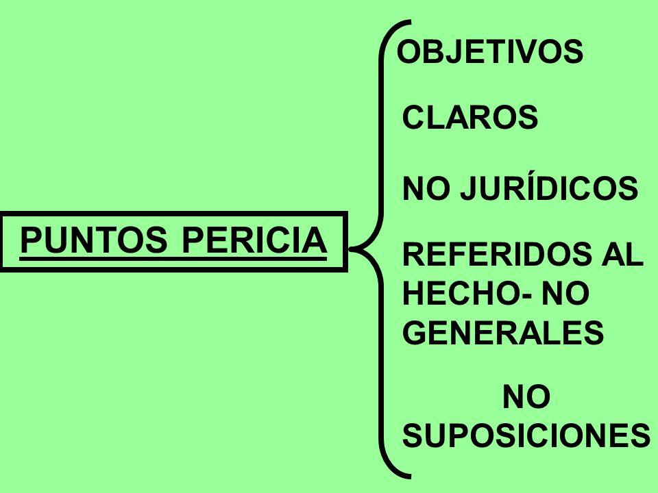 PUNTOS PERICIA OBJETIVOS CLAROS NO JURÍDICOS