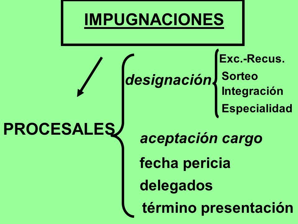 IMPUGNACIONES PROCESALES designación aceptación cargo fecha pericia
