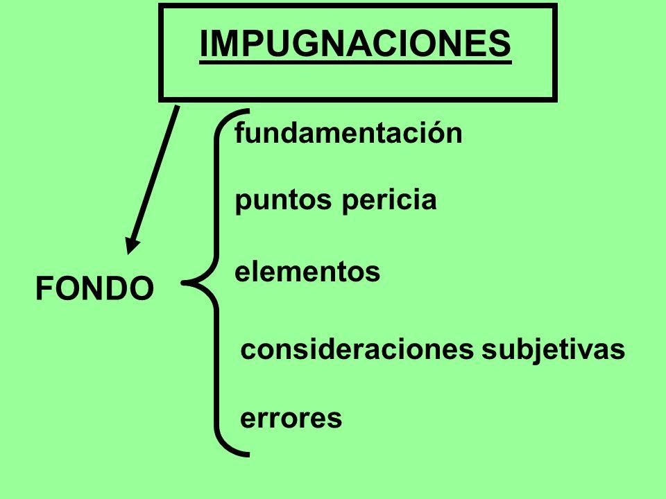 IMPUGNACIONES FONDO fundamentación puntos pericia elementos