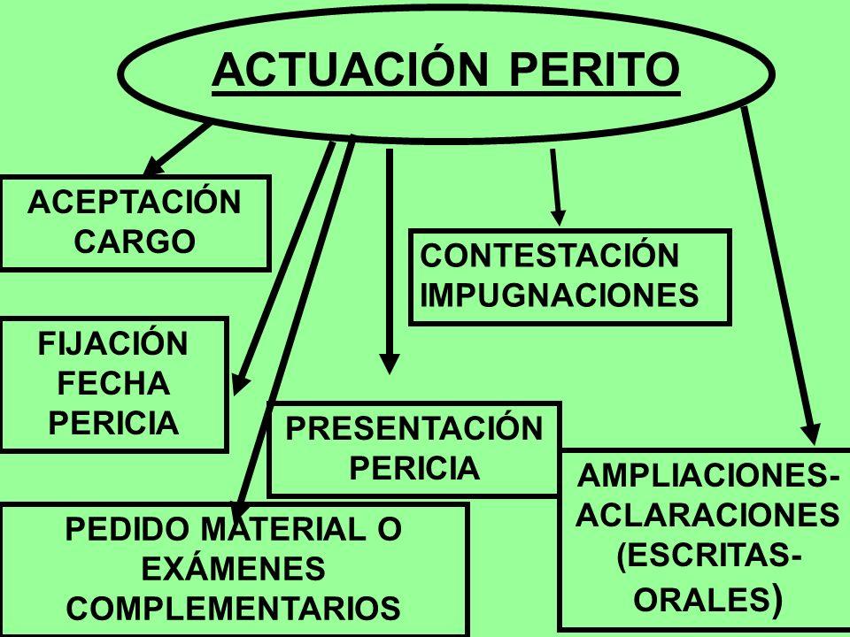 ACTUACIÓN PERITO ACEPTACIÓN CARGO CONTESTACIÓN IMPUGNACIONES