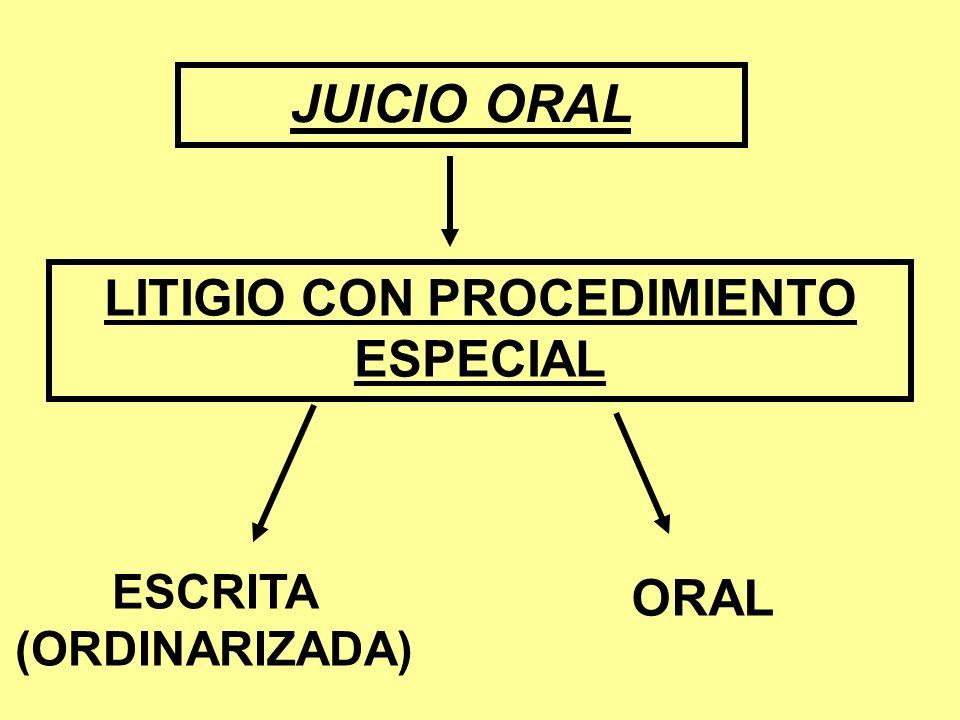 LITIGIO CON PROCEDIMIENTO ESPECIAL ESCRITA (ORDINARIZADA)